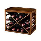 Wine Enthusiast 12 Bottle X Cube-Stack Wine Rack, Walnut Stain