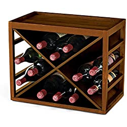 Cube Stack X-Style Wine Rack -Walnut