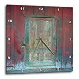 3dRose Abstract Wood Colors – Image of Aged Rustic Red Wooden Door – 13×13 Wall Clock (dpp_264386_2)