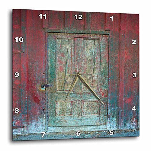 3dRose Image of Aged Rustic Red Wooden Door Wall Clock, 15 x 15 Review