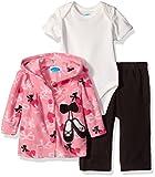 BON BEBE Baby Girls 3 Piece Microfleece Jacket Set, Pink Ballet Slippers, 0-3 Months