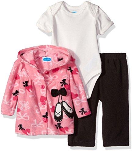 Bon Bebe Baby Girls' 3 Piece Microfleece Jacket Set, Pink Ballet Slippers, 0-3 Months ()