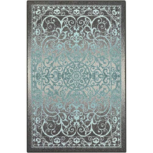 Maples Rugs Area Rugs - Pelham 7' x 10' Non Slip Large Rug [Made in USA] for Living Room, Bedroom, and Dining Room, Grey/Blue