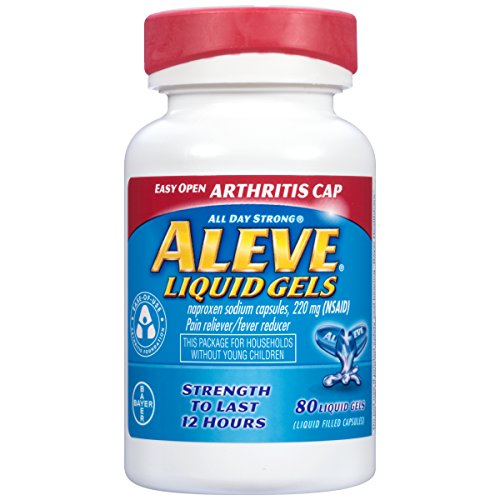 Aleve Liquid Gels with Easy Open Arthritis Cap, Naproxen Sodium, 220mg (NSAID) Pain Reliever/Fever Reducer, 80 Count - Naproxen Pain Reliever