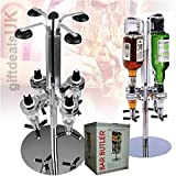 4 Bottle Rotary Bar Butler Drinks Stand Spirits Wine Optic Dispenser Party Steel by Denny Shop