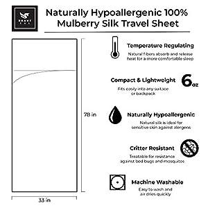 Brave Era Naturally Hypoallergenic 100% Mulberry Silk Travel Sheet for Adventurous Travelers (Sharkskin Gray)