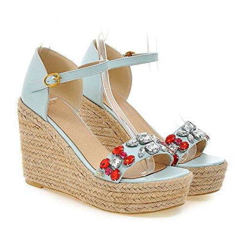 Amoonyfashion Mujeres High Heels Solid Hebilla Sandalias Open-toe Azul