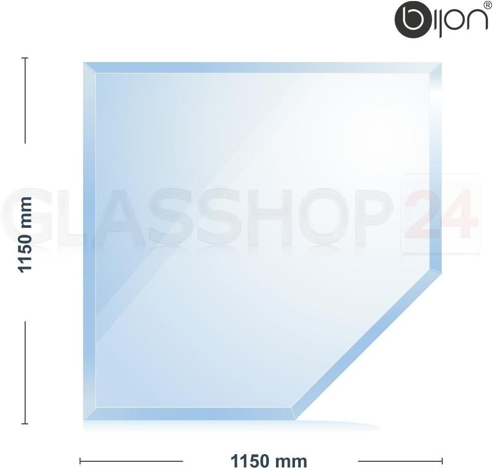 18mm Facette Rundbogen 1150x1150x8mm bijon/® 8mm Kamin Glasbodenplatte