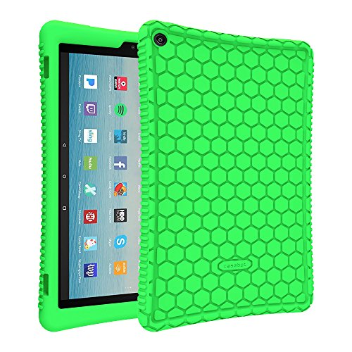 Fintie Silicone Case for All-New Amazon Fire HD 10 Tablet (7th Generation, 2017 Release) - [Honey Comb Series] [Kids Friendly] Light Weight Shock Proof Back Cover for Fire HD 10.1