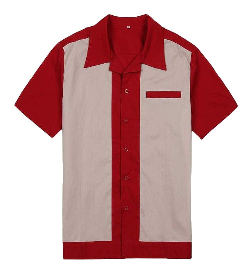 Zantt Mens Rock Loose Fit Plus Size Contrast Metallic Dress Shirts