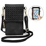 Cell Phone Bag, seOSTO PU Leather Crossbody Bag Mini Phone Purse Wallet with Shoulder Strap for iPhone X 8 7 6s Plus/Samsung Galaxy S8 S7 (Black)