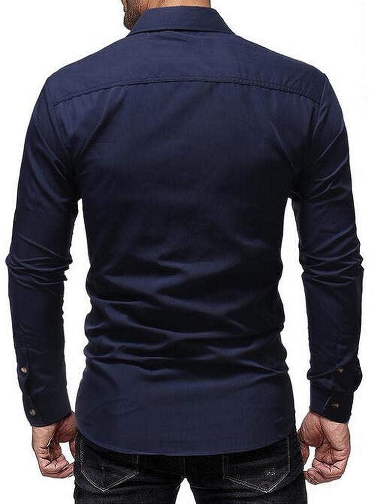Fubotevic Mens Button Down Business Plaid Print Casual Long Sleeve Dress Work Shirt