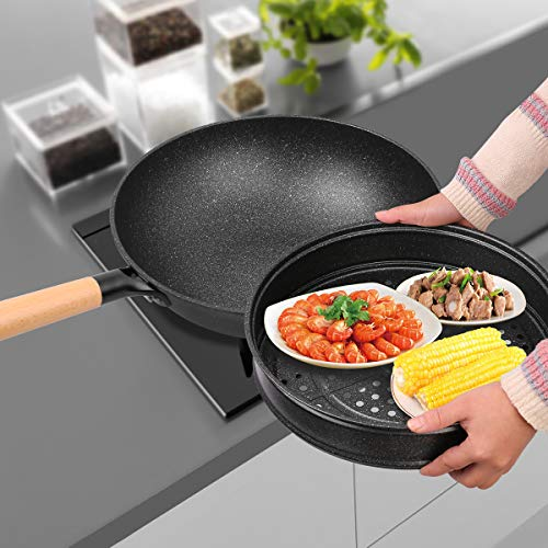Nonstick Woks and Stir Fry Pans With Lid, Steam Rack, Wok Pan With Lid, Ceramic Wok with Lid, Nonstick Frying Wok Flat Bottom, Induction Compatible (12.5 inch wok)