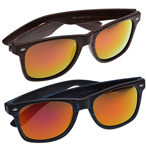 Metro Retro Wayfarer Style Sunglasses by Neviss | 2015 Collection | 2-Pack Bundle ( Sunset & Evening Sky)
