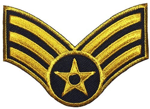 Papapatch Senior Airman Chevrons Rank US Air Force USAF Military U.S. Army Morale Sew Iron on Embroidered Applique Badge Sign Patch (1 Piece) - Gold on Black ()