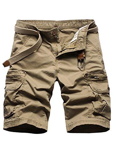 P2U Mens Multi-Pocket Solid Casual Twill Cargo Shorts
