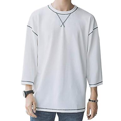 7602e21d0c408f Amazon.co.jp: Tシャツ メンズ 七分袖 無地 丸首 夏服 メンズ ロングt ...
