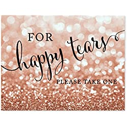 Andaz Press Wedding Party Signs, Glitzy Rose Gold Glitter, 8.5x11-inch, For Happy Tears Tissue Kleenex Ceremony Sign, 1-Pack, Bokeh Colored Party Supplies
