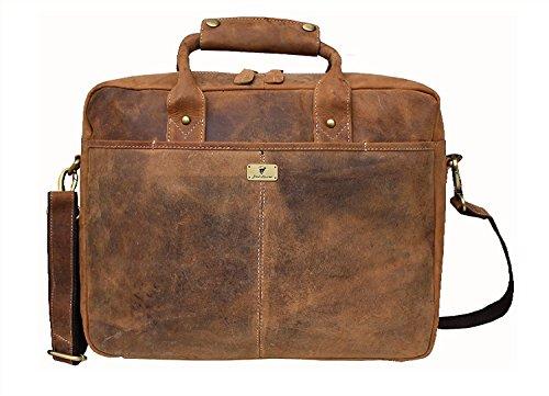 Devil Hunter 16 inch Vintage Buffalo Leather Messenger Satchel Laptop Briefcase Men's Bag Crazy Vintage Leather Messenger (Light Brown) ()