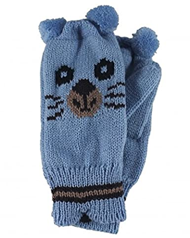 1765340ad Jiglz Knitted Novelty Kids Ski Hat and Gloves in Blue: Amazon.co.uk ...