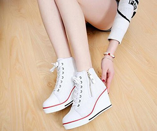 de de Zapatillas de Mujer con Cremallera Zapatos Caminar Zapatos 42 de cuña Blanco Primavera Color Exteriores Zapatos para Casual Deporte de otoño de tamaño Tacón Lona Cordones dq85w7x5X