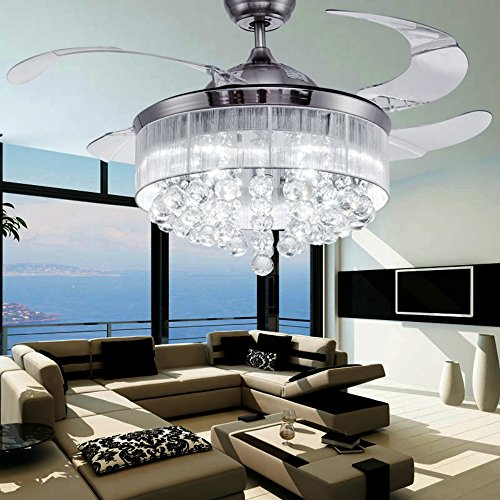 COLORLED Crystal Silver Drawing Retractable Ceiling Fan for Living Room Bedroom Restaurant Three Color Changing 42-Inch Fan Chandelier Lighting