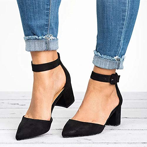 Huiyuzhi Heels black High Womens Y Sandal Strappy Ankle Pointed Chunky Toe 8nf8PrqwHx