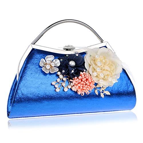 de Artificial Bolso Fiesta KirinArtHall Flor del Blue Diamante de Color Boda Baile la la Black la de de Femenino dwpIvqvX