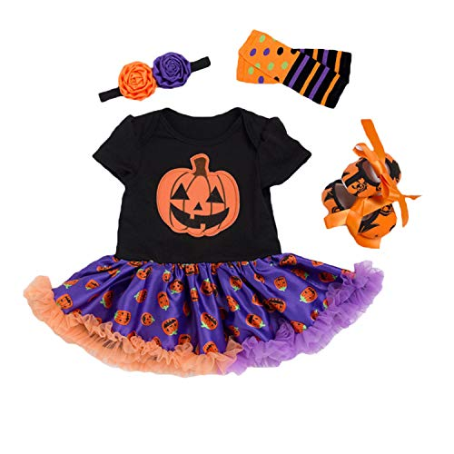 BabyPreg Baby Girls Halloween Skeleton Tutu Dress Set, Infant Pumpkin Costume