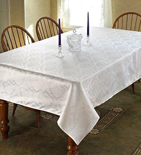 Linen Damask Fabric (European Damask Design Tablecloth White 52