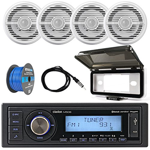 ClarionMarine 16-25' Bay Boat Audio Package: Single-DIN SiriusXM Ready Bluetooth USB AUX Digital Media Receiver, 4X 6.5 Coaxial 2-Way 100 Watts Speakers, Speaker Wire, Radio Cover, Antenna (Package 4 Wheel 17')