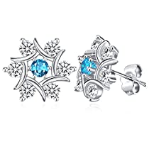 Snowflake Earrings, Sterling Silver Stud Earrings Mothers Day Gift with Exquisite Package J.Rosée Fine Jewelry for Women The Snow Queen Best Gift for Mom Wife Girlfriend with ExquisitePackage