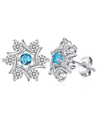 "Snowflake Earrings, Sterling Silver Stud Earrings Valentine's Day Gift with Exquisite Package for Wife Girlfriend Mother J.Rosée Fine Jewelry for Women ""The Snow Queen"""