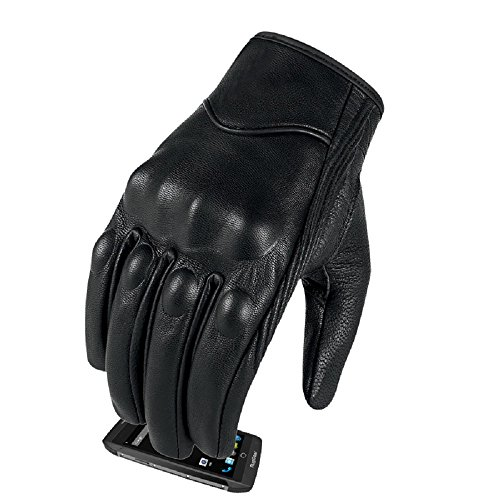Full finger Goat Skin Leather Touch Screen Motorcycle Gloves Men/Women S,M,L,XL,XXL (Non-Perforated, S)