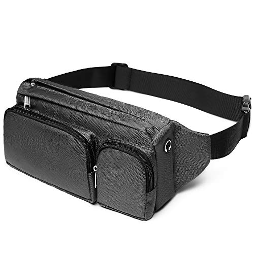 Cambond Waist Bag Pack, Large Fanny Pack for Men Women Waist Pack Hip Bum Bag with Headphone Jack and Adjustable Strap for Outdoors Workout Traveling Casual Running Hiking Cycling, Grey