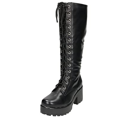 5db5bc30c1a Koi Couture Chunky Heel Platform Gothic Punk Knee High Mid Combat Lace Up  Boots UK 3