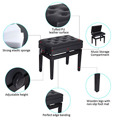 HomCom Faux Leather Height Adjustable Padded Piano Bench With Music Storage - Black