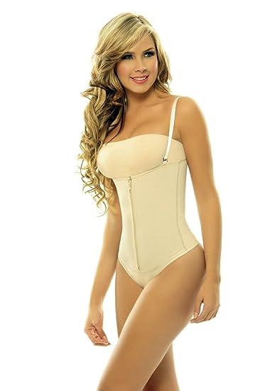 1344ba7422 Amazon.com: Corset Mujer Powernet with Latex Braless Body Girdle ...