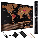 Large Scratch Off Map of The World (32'' x 23 1/2'') with Flags and US States - Includes Accessories and Scratcher Tools - Premium Travel Map Design Makes Perfect Gift - by TakeAction