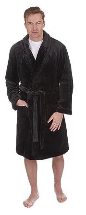7af21306f8 Pierre Roche Mens Supersoft Plush Fleece Dressing Gown Black Medium