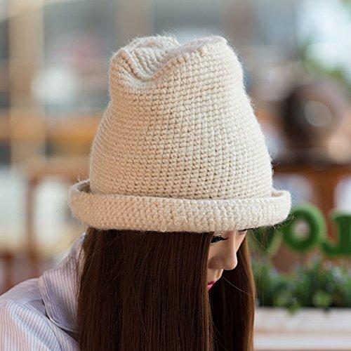 METERSWHITE Lana Cap Simples el otoño Punto White Invierno señoras para Maozi de Novedades Moda y Meters líneas de Curling Gruesa HSBwSg