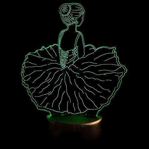 Fsewfs Luz nocturna 3D Led Visual Ballet Girls Modelado Luces Nocturnas Usb Dance Falda Lámpara De Mesa Bebé Dormir...
