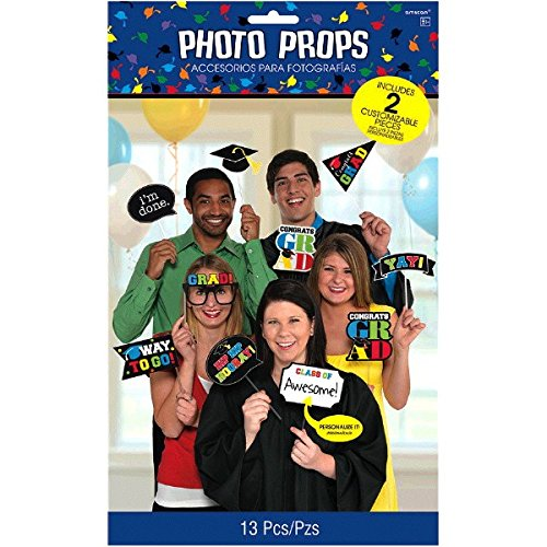 Amscan Graduation Party Photo Booth Prop Cutouts Decoration, Plastic, Pack of 13. ()