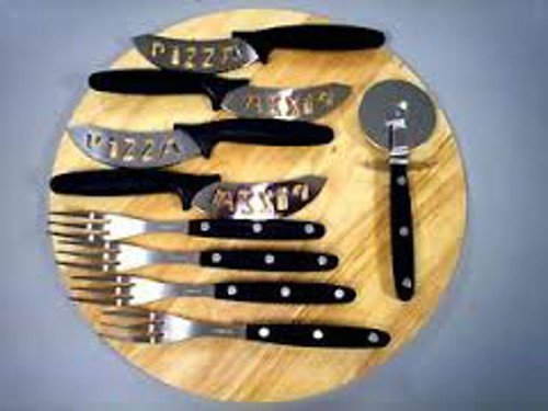 """12"""" Pizza Wood Cutting Board with Cutter Wheel, 4 knives, and 4 forks"""