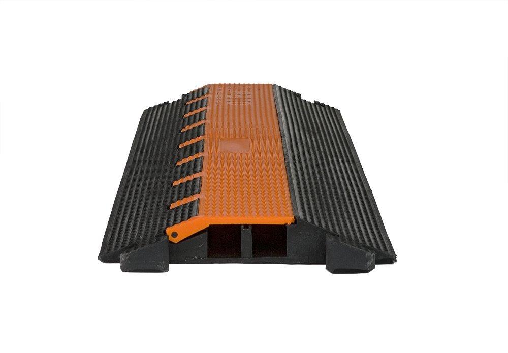 Elasco LG2125 Lite Guard Cable Guard/Management, Light Duty, Dual Channel, 1-1/4'' Channels, 12500 lb. per Tire Load Capacity, 37.5'' x 11.75'' x 1.75'', Orange/Black
