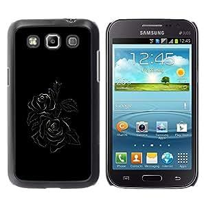 Be Good Phone Accessory // Dura Cáscara cubierta Protectora Caso Carcasa Funda de Protección para Samsung Galaxy Win I8550 I8552 Grand Quattro // Black Minimalist Rose Floral