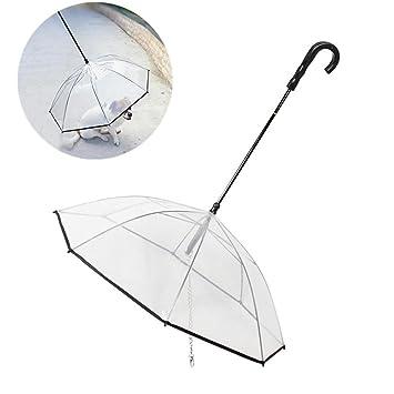 Mascota Perro Paraguas Con Correa - Claro Transparente Plegable Paraguas por Pequeña Perros Cachorros por Al