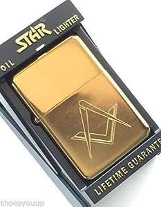 Masónico Logo CON ESCUDO SIN G GASOLINA Gold Star Mechero (T6) + 59mm Botón Insignia