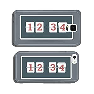 Flip clock in flat style with all flipping numbers. Vector cell phone cover case Samsung S6