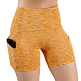 ODODOS High Waist Out Pocket Yoga Shots Tummy Control Workout Running 4 Way Stretch Yoga Shots,SpaceDyeMustard,Small